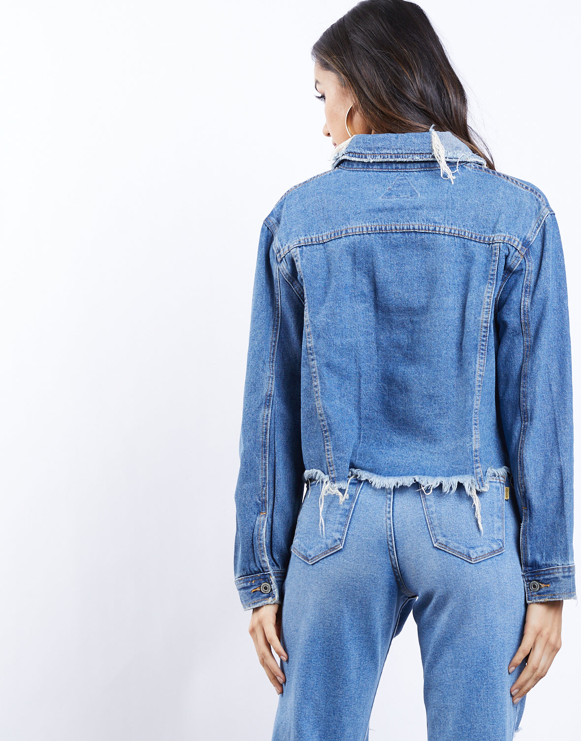 Cut To The Chase Cropped Denim Jacket