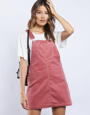 Sweet Corduroy Overall Mini Dress