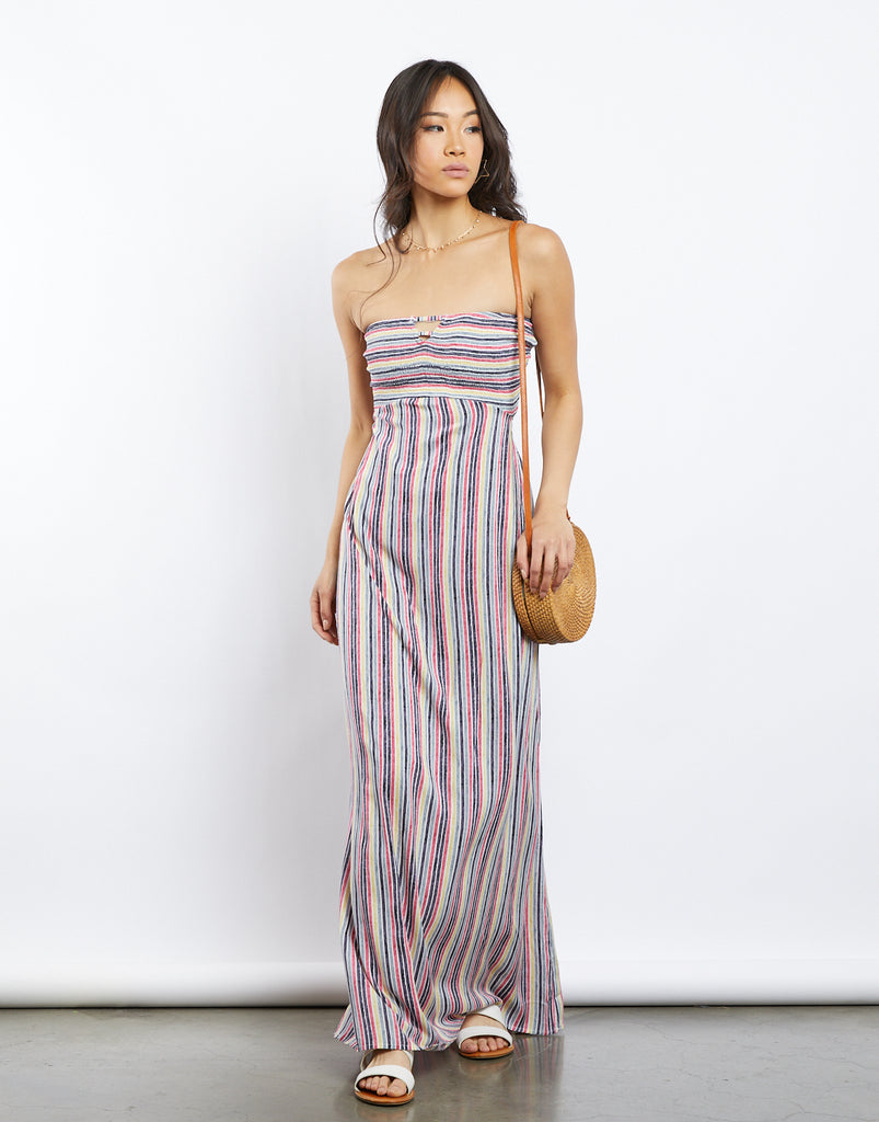 Summer's Eve Striped Maxi Dress Dresses Pink/Navy Small -2020AVE