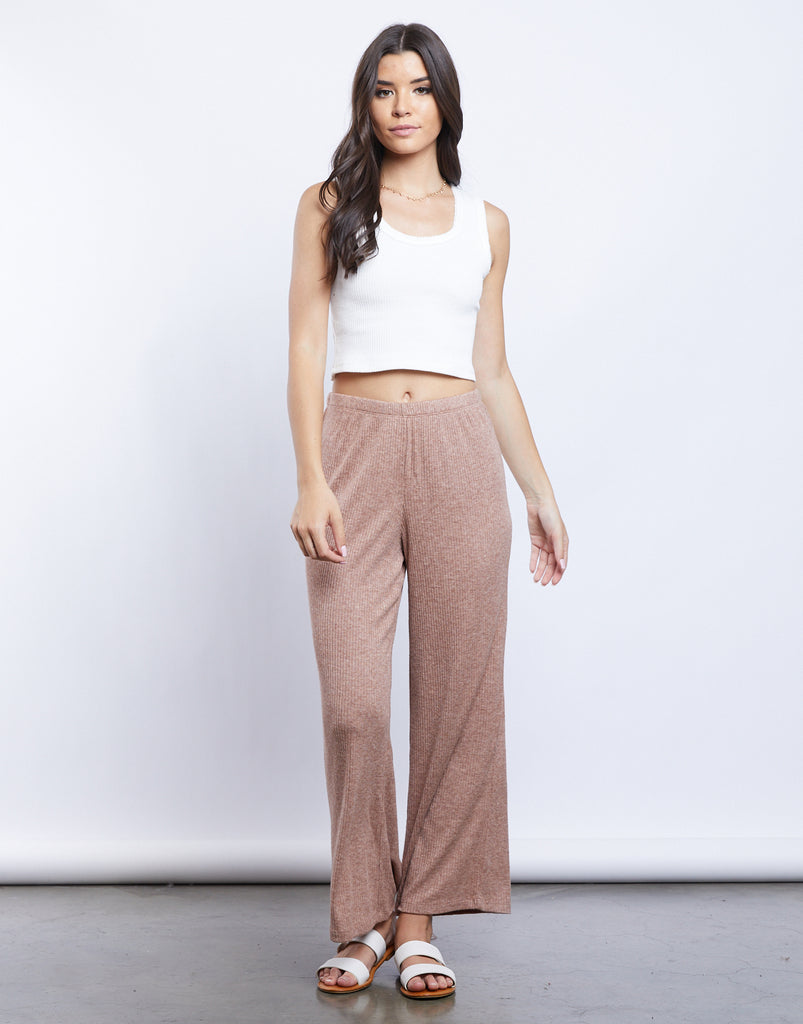 So Comfy Ribbed Gaucho Pants Bottoms Warm Brown Small -2020AVE