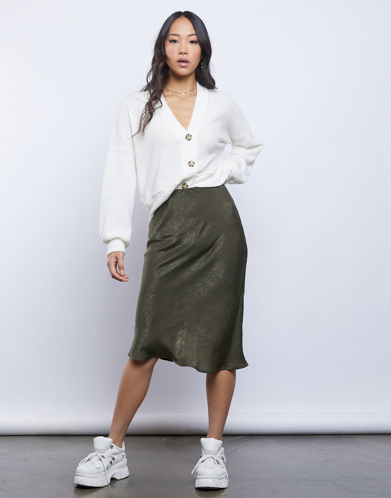 Daphne Satin Midi Skirt Bottoms -2020AVE