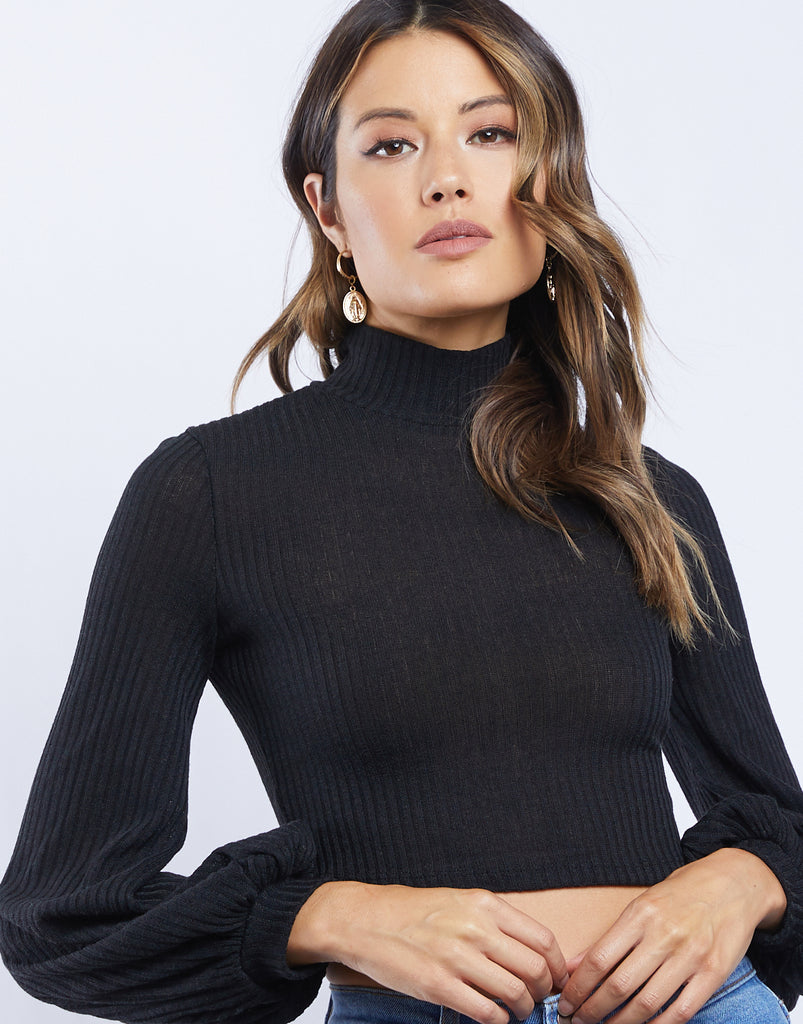 Darby Cropped Turtleneck Tops -2020AVE