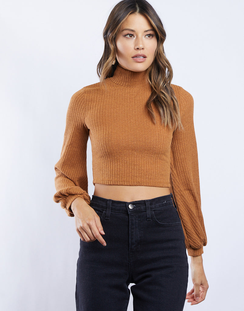 Darby Cropped Turtleneck Tops Camel Small -2020AVE