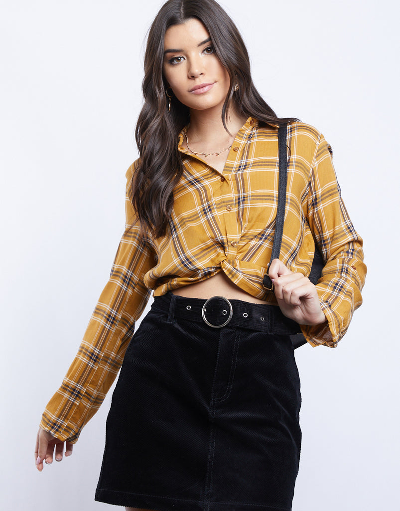 Darcy Plaid Twist Top Tops Mustard Small -2020AVE