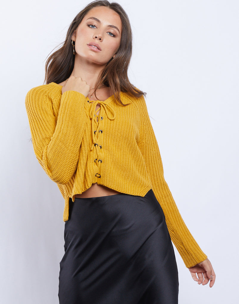 Desert Dreaming Lace Up Sweater Tops -2020AVE
