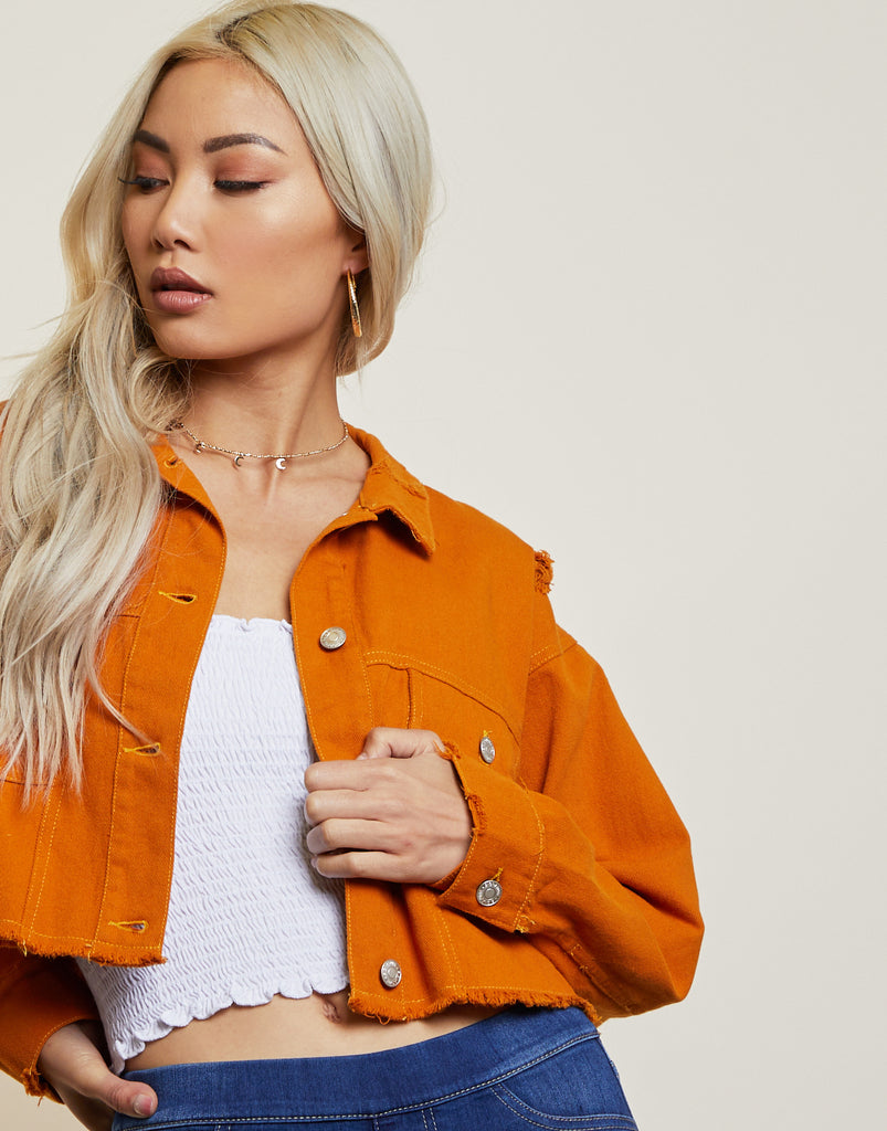 Distressed Autumn Cropped Jacket Outerwear -2020AVE
