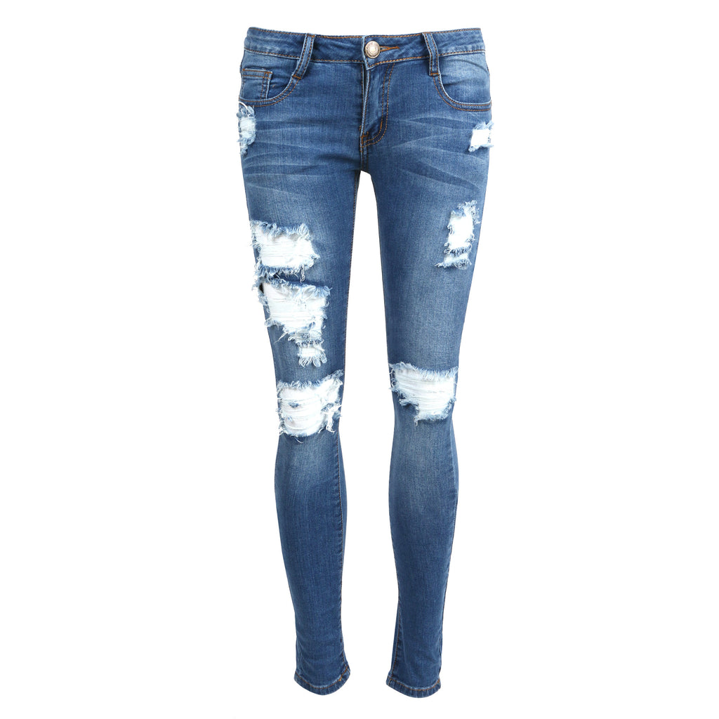 Destroyed Medium Washed Skinny Jeans - 2020AVE