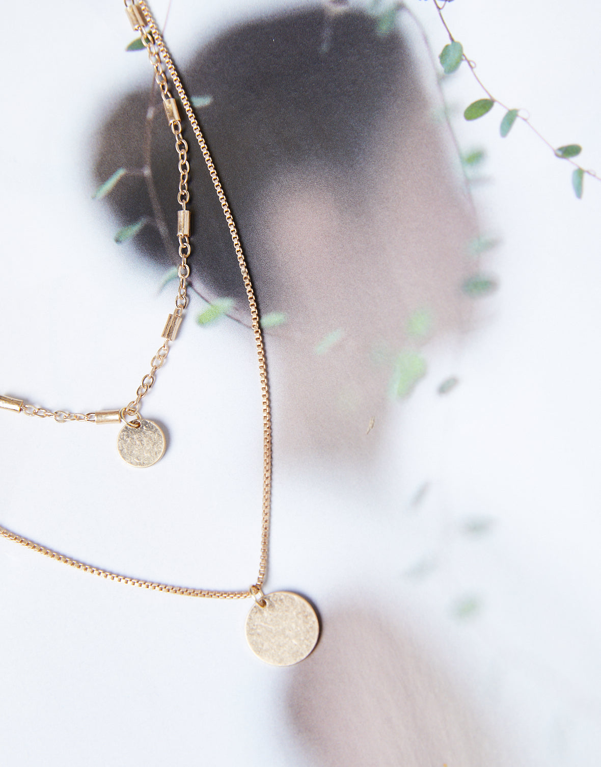 Double Chain Coin Necklace