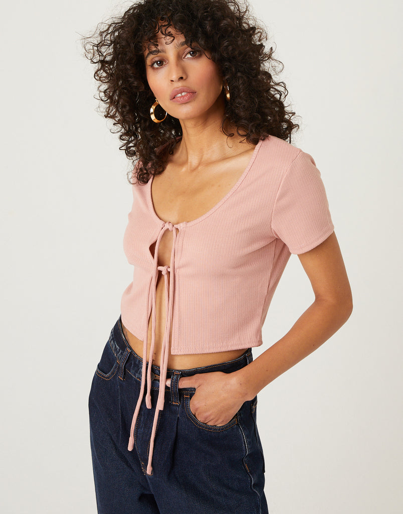Double Tie Front Top Tops Pink Small -2020AVE