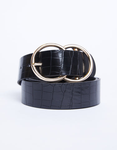 Double Buckle Croc Belt