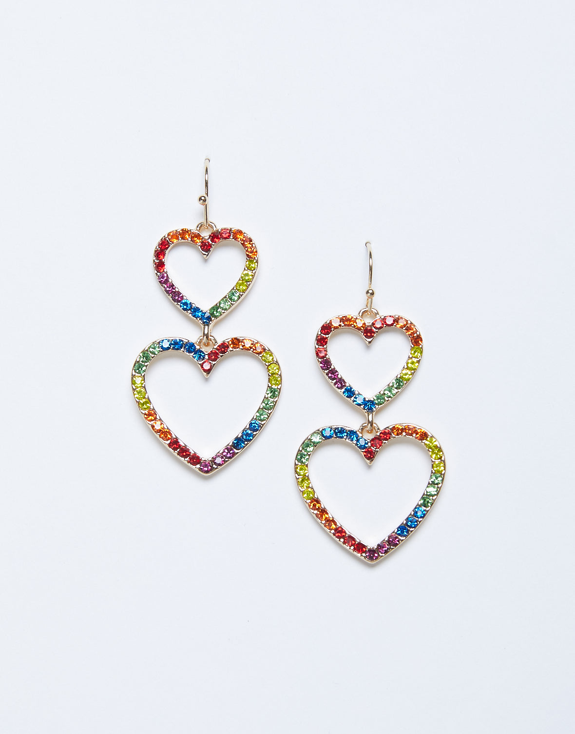 Double Heart Rainbow Earrings