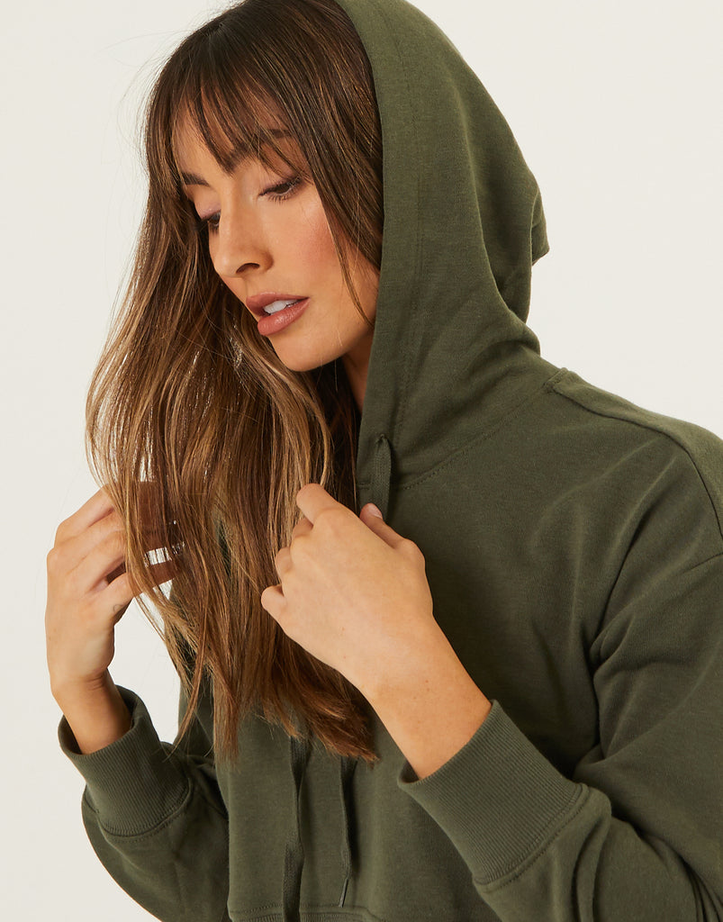 Cropped Active Hoodie Tops Olive Small -2020AVE