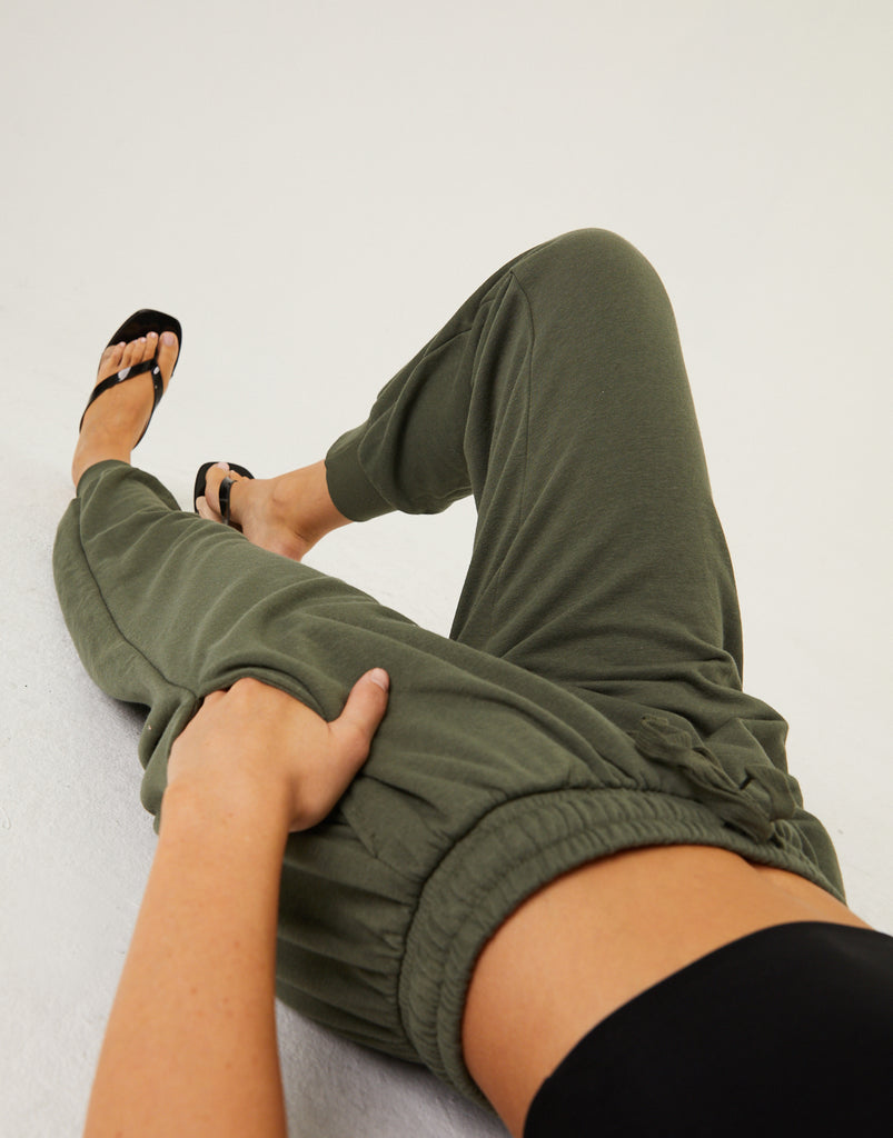 Classic Drawstring Joggers Bottoms Olive Small -2020AVE