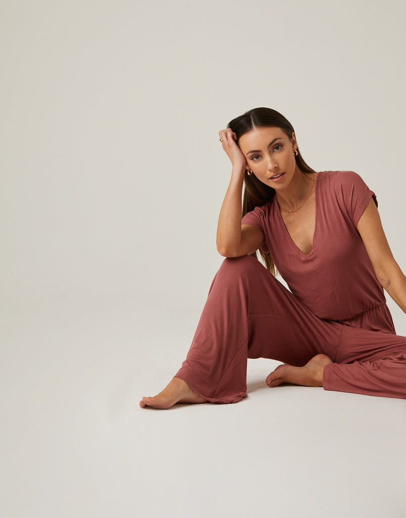 Draping Surplice Jumpsuit Rompers + Jumpsuits -2020AVE