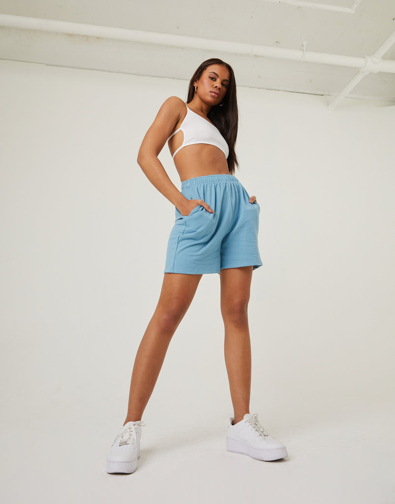 Elastic Waist Sweat Shorts Bottoms Blue Small -2020AVE