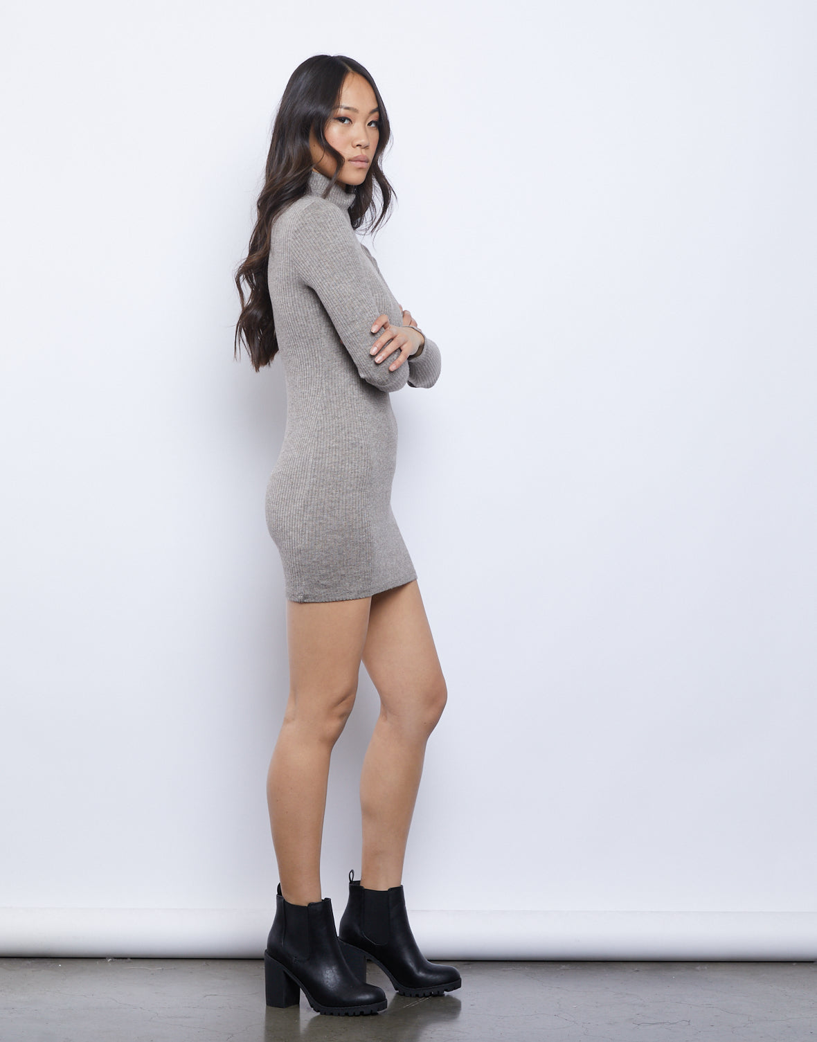 Elissa Mock Neck Sweater Dress