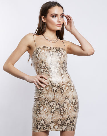 Elsi Natural Snake Bodycon Dress