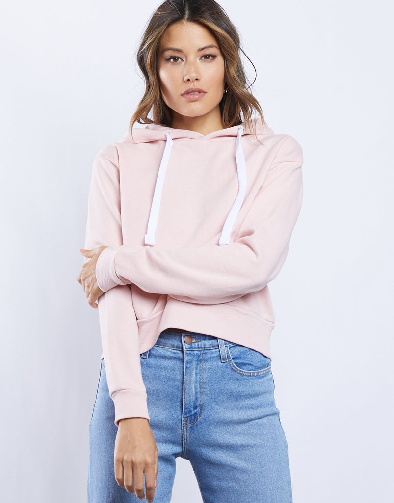 Elyssa Comfy Hoodie Tops Pink Small -2020AVE