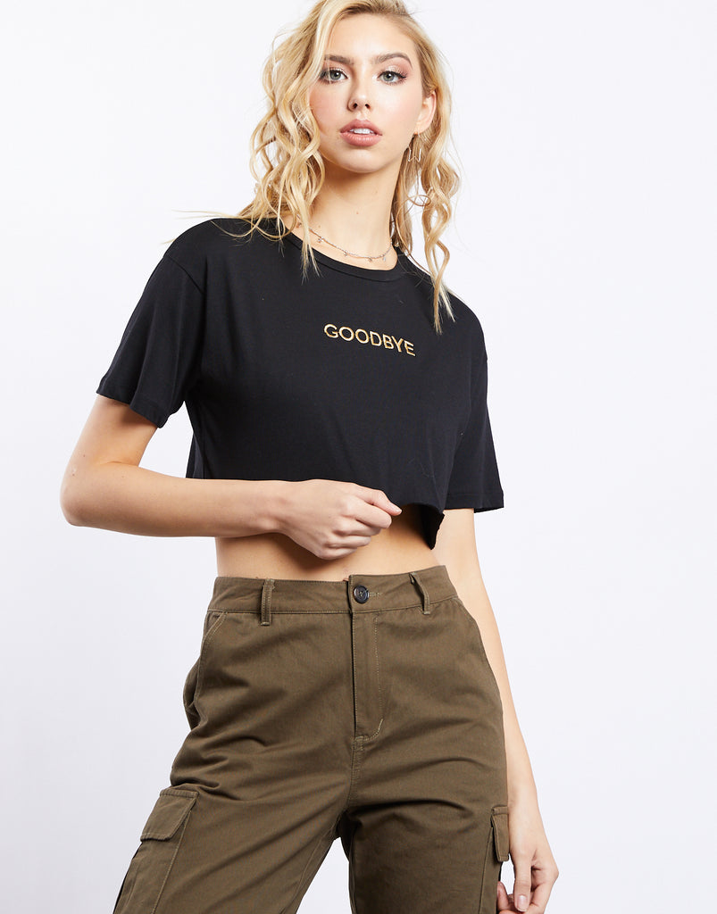 Embroidered Good Bye Crop Tee Tops Black Small -2020AVE