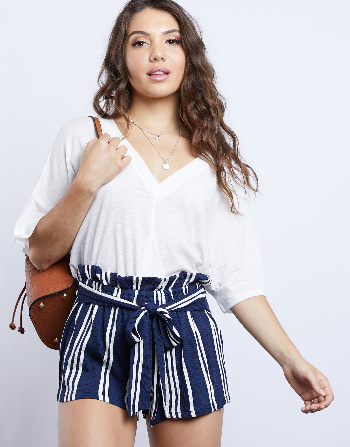 Emma Tie Front Striped Shorts