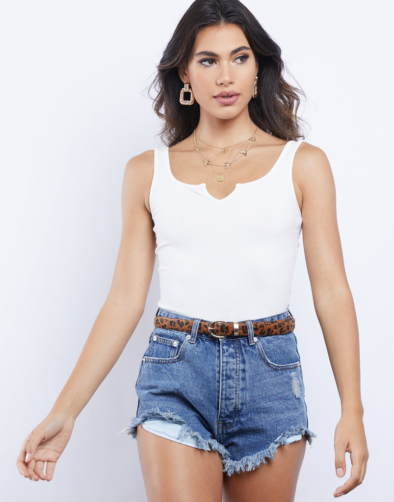 Emmy Sleeveless Ribbed Bodysuit Tops Ivory Small -2020AVE
