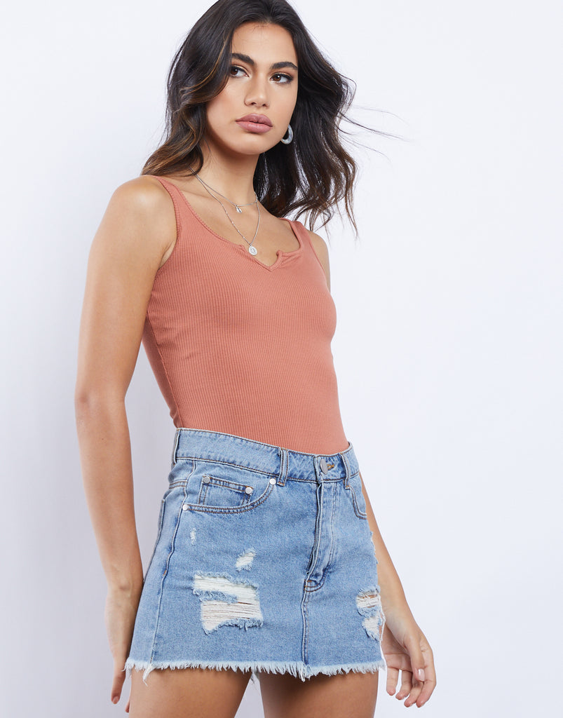 Emmy Sleeveless Ribbed Bodysuit Tops Rust Small -2020AVE