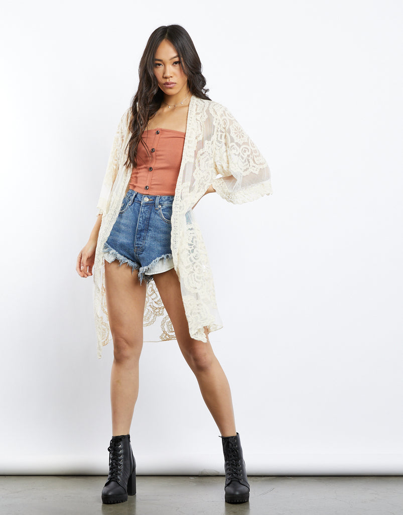 Summer Vibing Lace Kimono Outerwear Cream Small -2020AVE