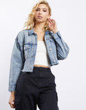 Faded Away Crop Denim Jacket