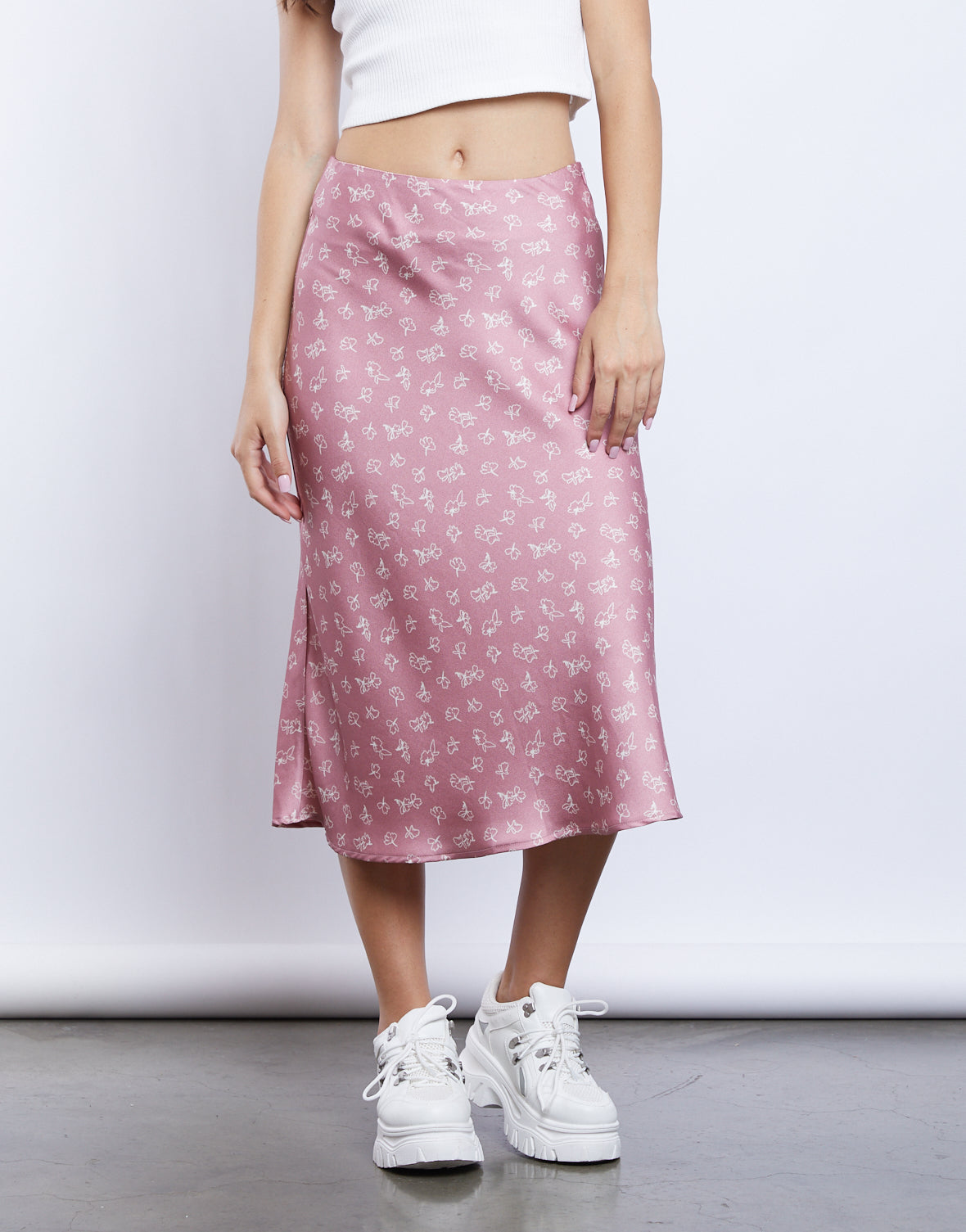 Falling For You Floral Midi Skirt