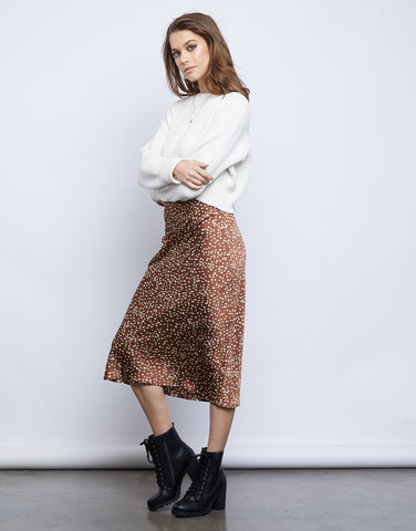 Fierce Spotted Midi Skirt