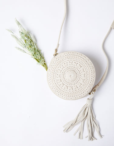 Firefly Embroidered Round Bag