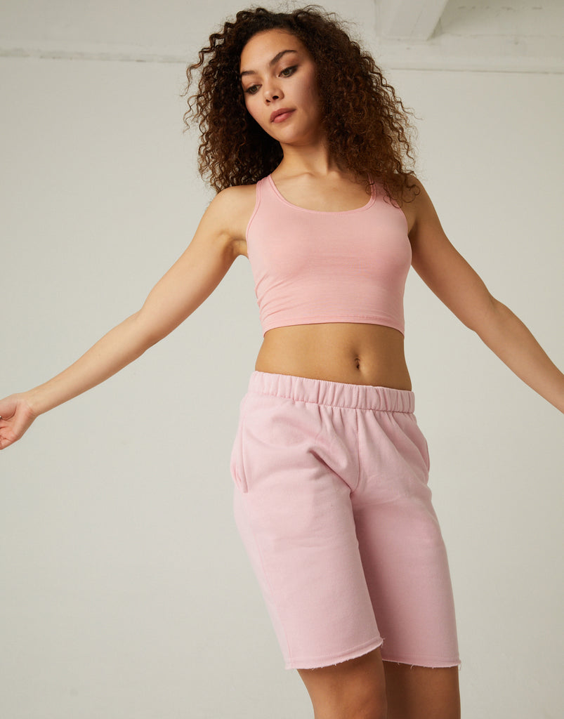 Fleece Lined Sweat Shorts Bottoms Pink Small -2020AVE