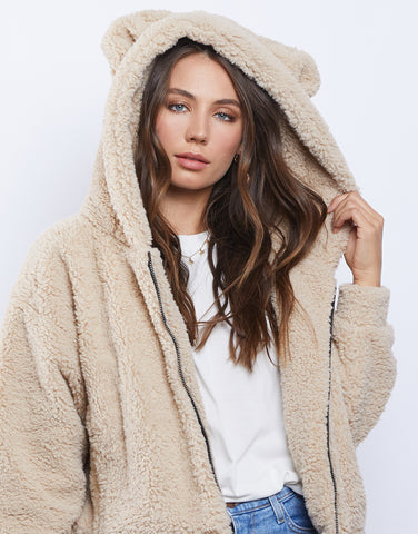 Fluffy Hooded Teddy Bear Coat