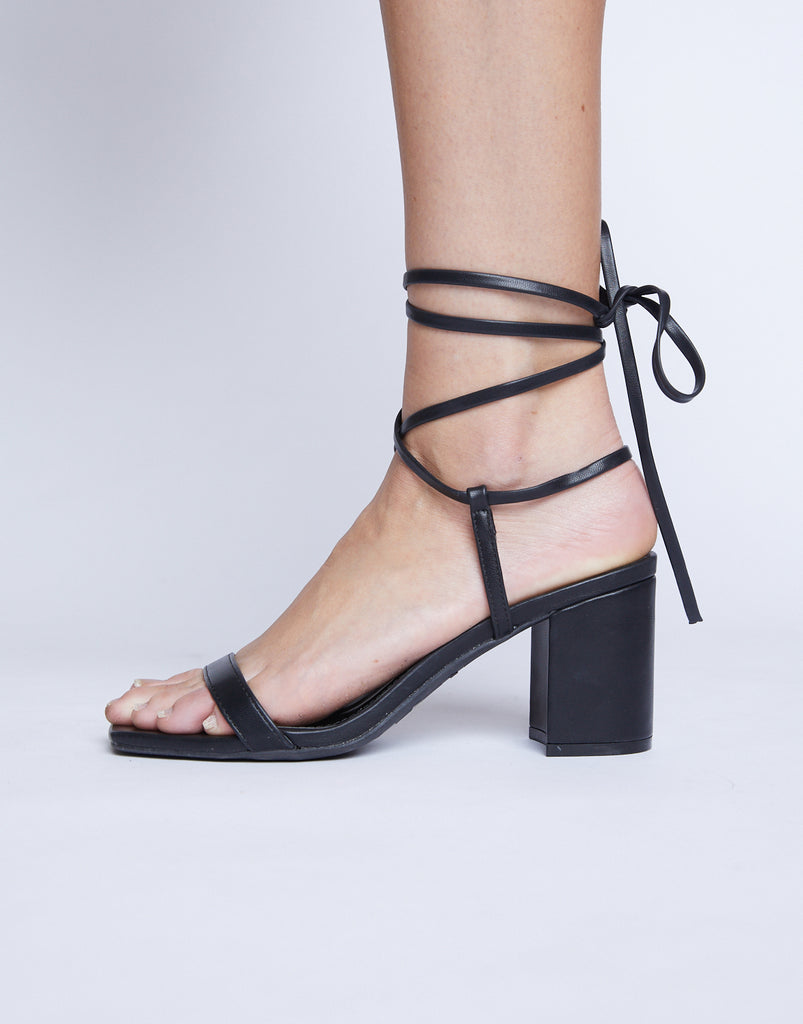 Forever In Your Dreams Lace Up Heel Shoes Black 5.5 -2020AVE