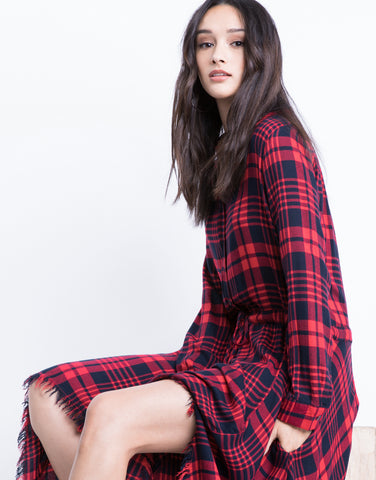 Frayed Edges Plaid Dress