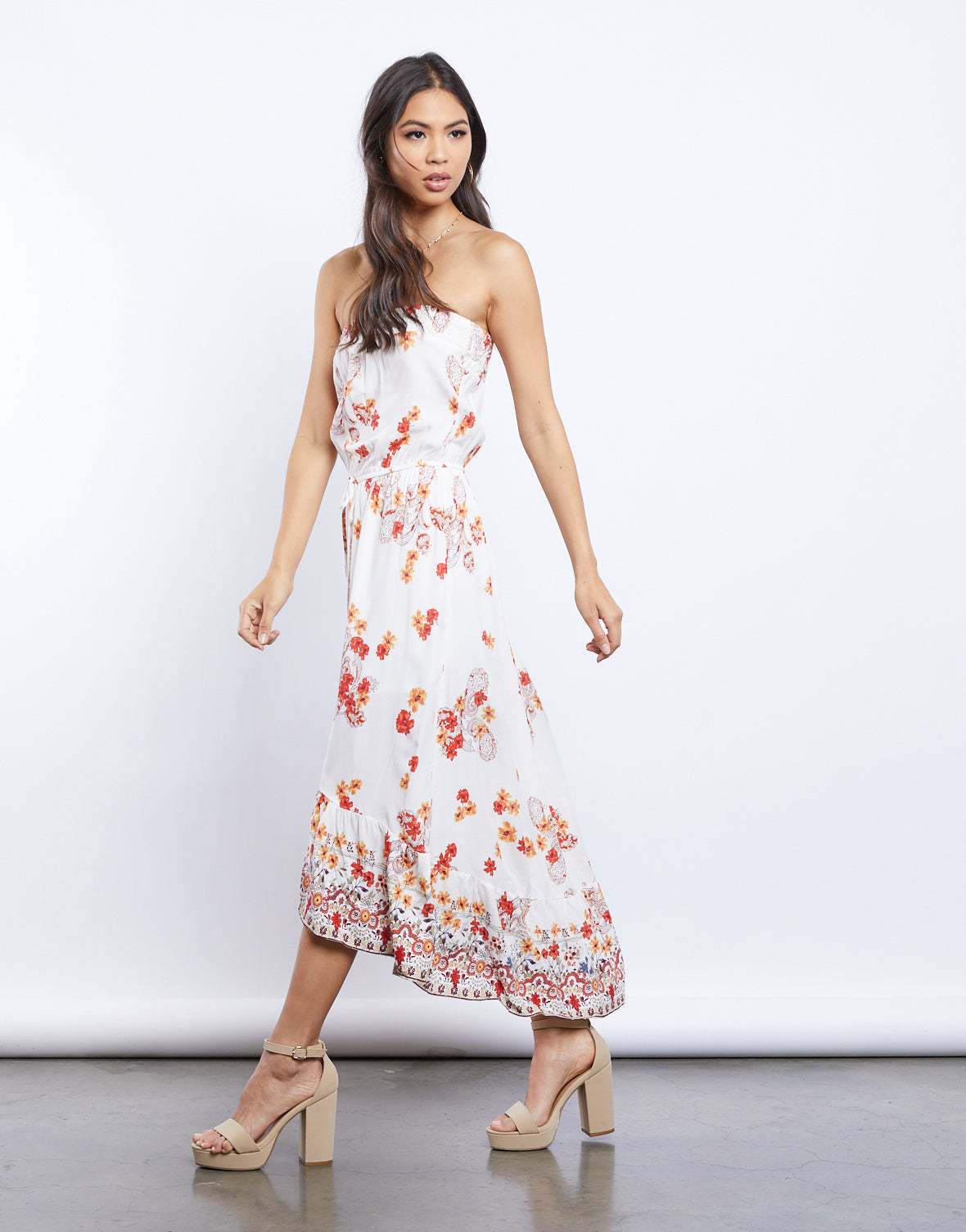 Free Falling Strapless Floral Dress
