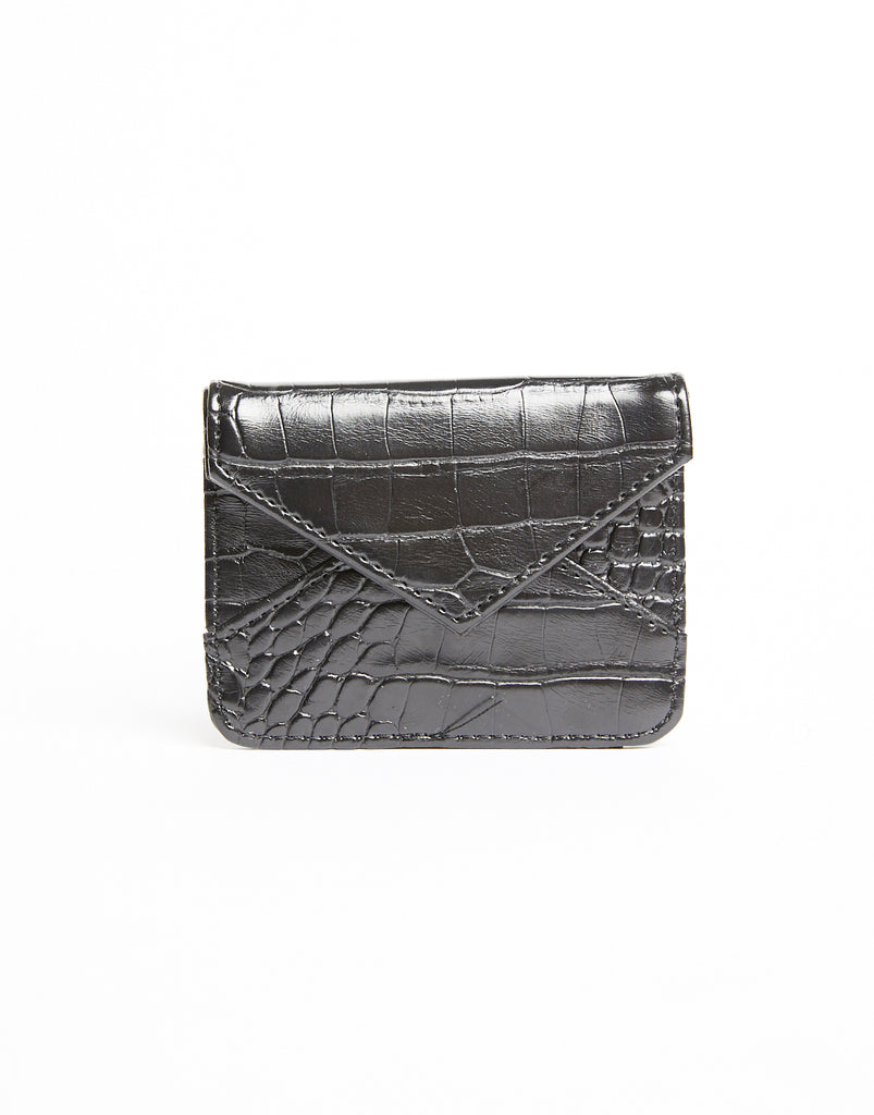 Wild Thing Crocodile Texture Mini Wallet Accessories Black One Size -2020AVE