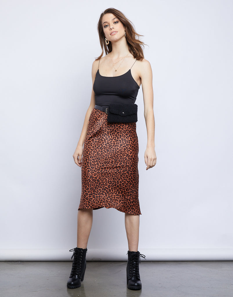 Galleria Leopard Midi Skirt Bottoms Leopard Small -2020AVE