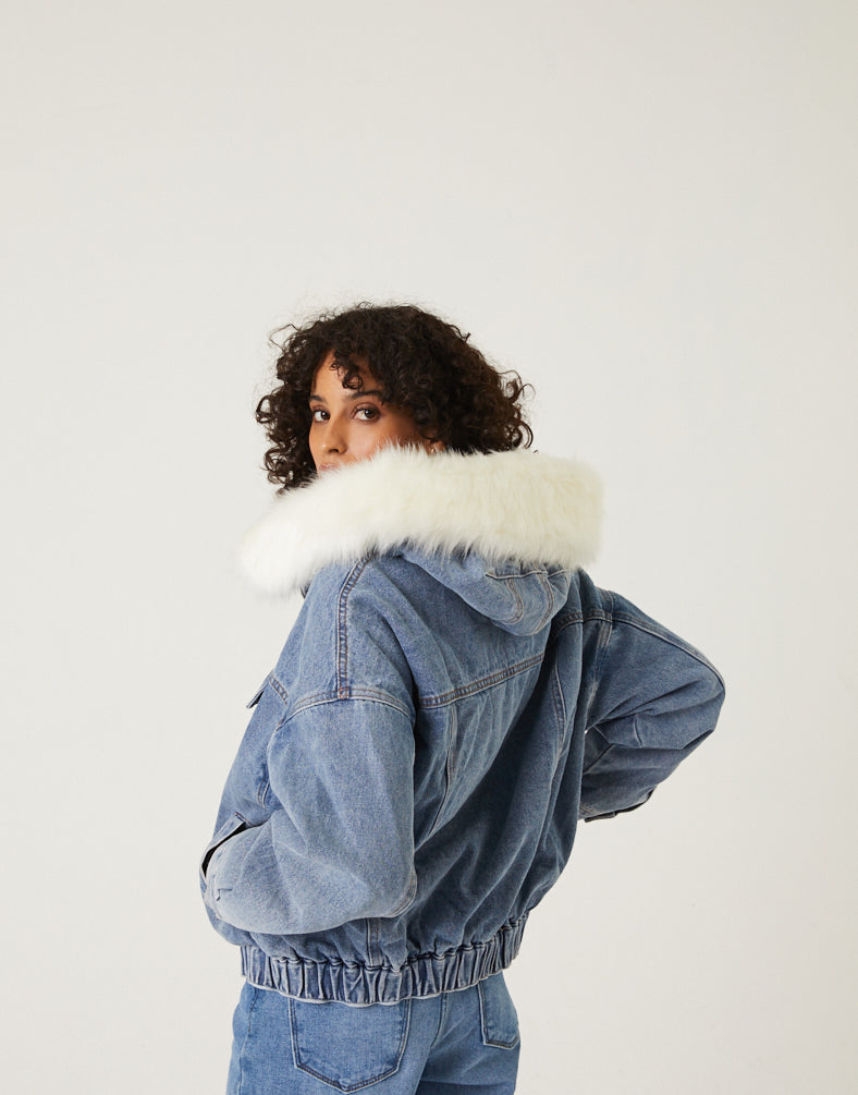 Fur Lined Denim Jacket Outerwear Medium Blue Small -2020AVE