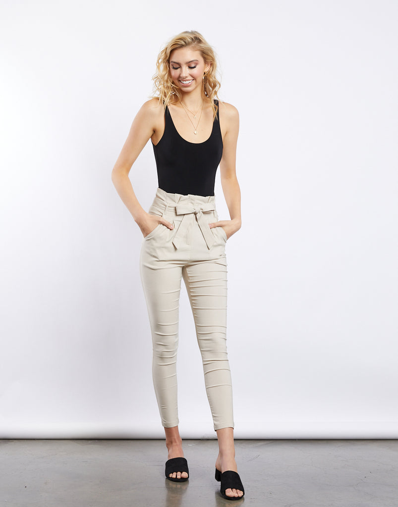 Goals Keeper Skinny Paper Bag Pants Bottoms Beige Small -2020AVE