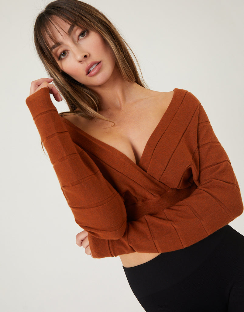 Deep V-Neck Cropped Sweater Top Tops Rust Small -2020AVE