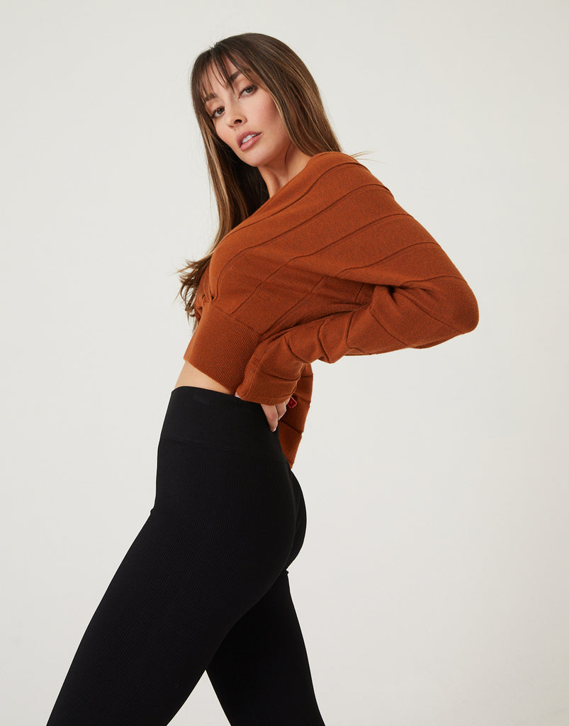 Deep V-Neck Cropped Sweater Top Tops -2020AVE