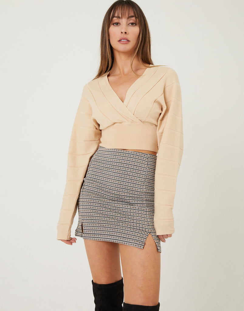 Deep V-Neck Cropped Sweater Top Tops Taupe Small -2020AVE