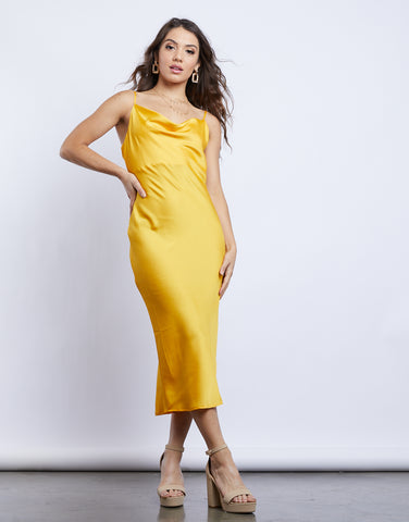 Golden Girl Cowl Neck Midi Dress