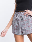 Gray Plaid Paper Bag Shorts