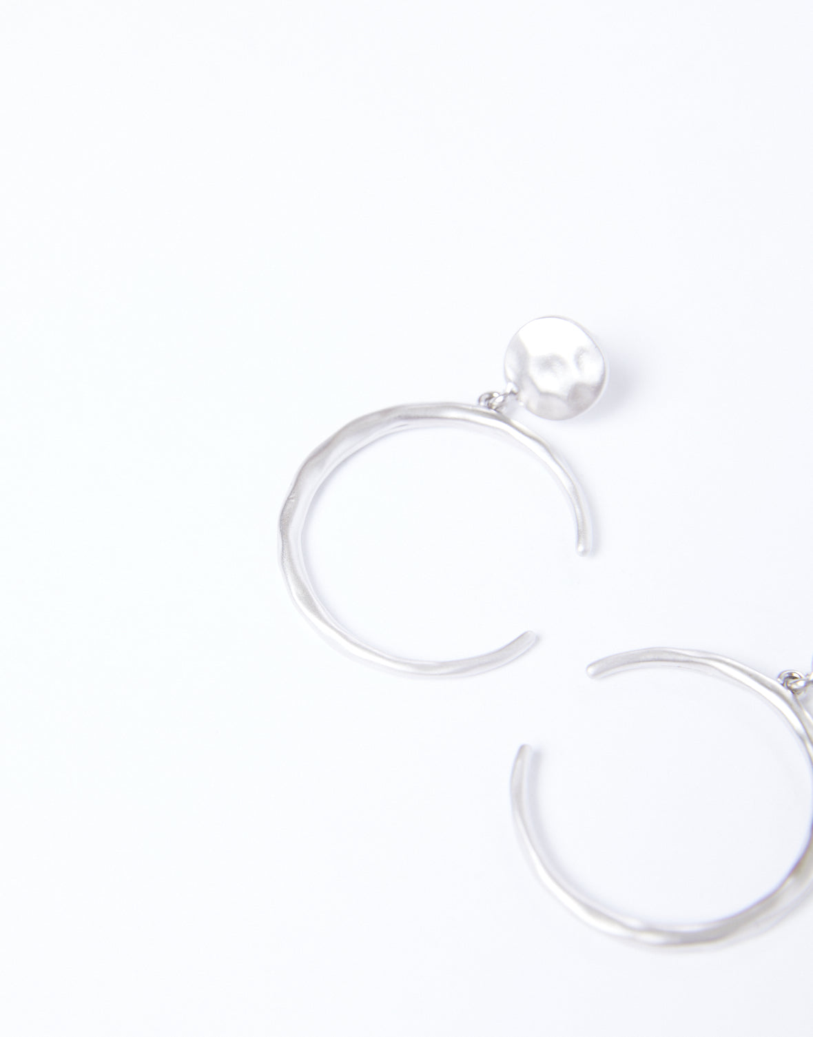 Hammered Sideways Crescent Earrings