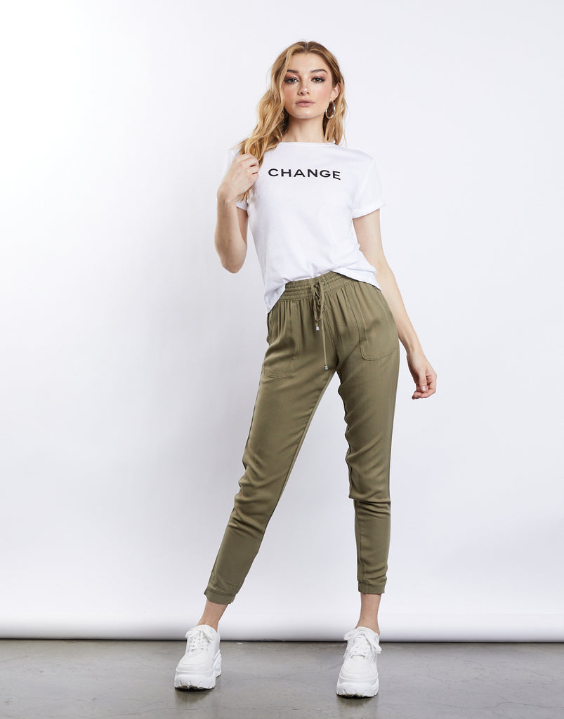 Hanna Drawstring Trousers Bottoms Olive Small -2020AVE