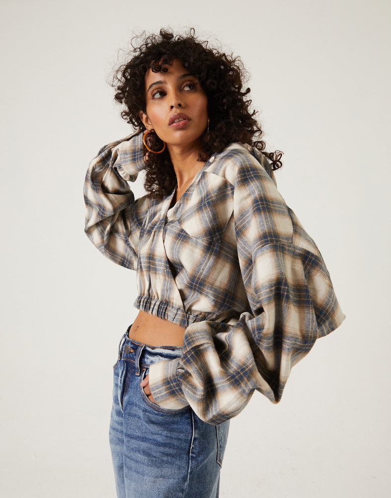 Plaid Button Down Crop Top Tops -2020AVE