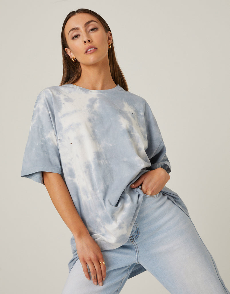 Holey Oversized Tie Dye Tee Tops -2020AVE