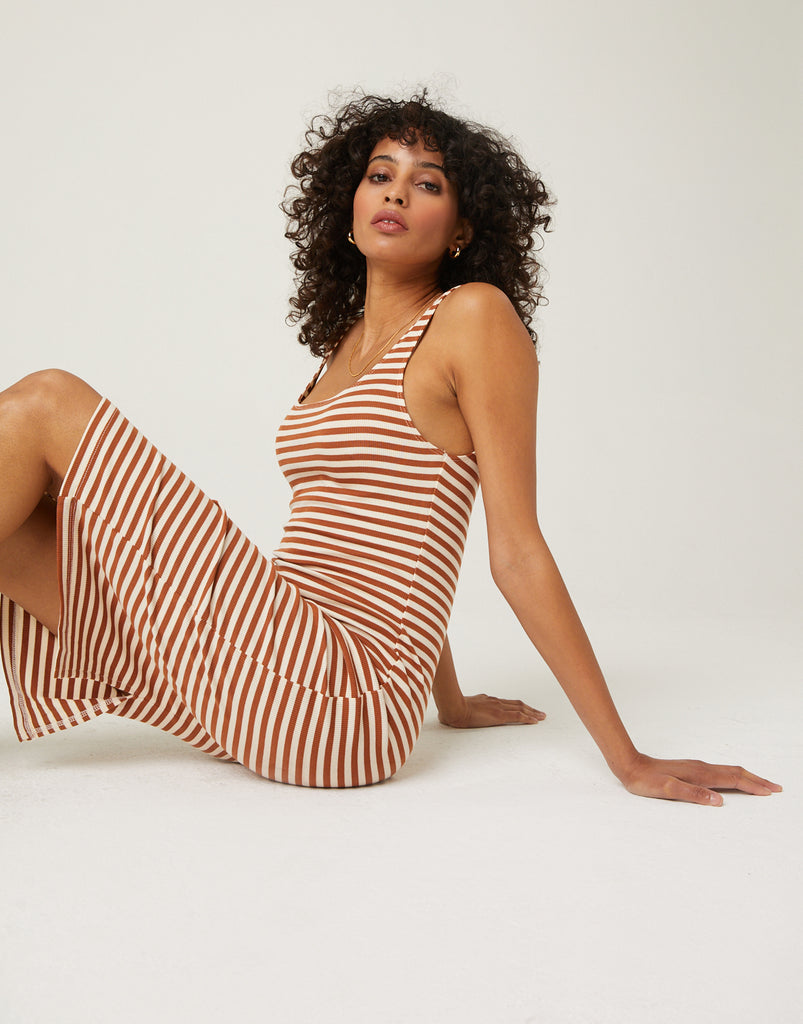 Horizontal Stripe Ribbed Dress Dresses Brown Small -2020AVE